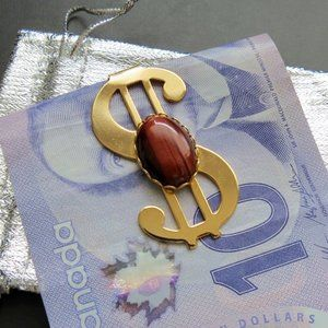 NWOT Money Clip with Red Tigereye Stone